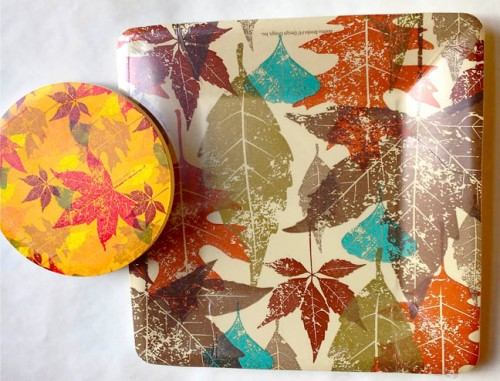 Leafy Autumn coaster and Plate